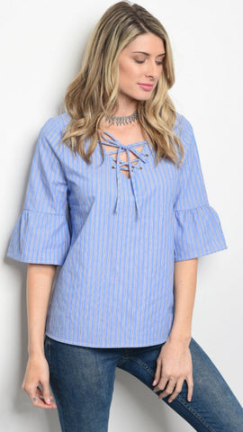 MORGAN Ruffle Sleeve Striped Top with Lace-Up Neckline