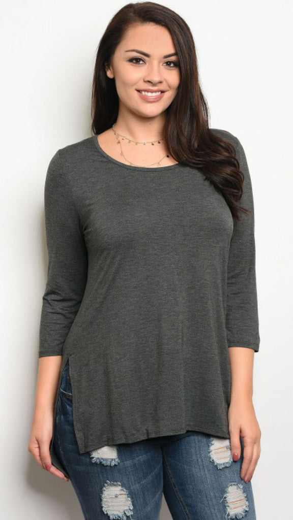 The ALEX Plus Size Charcoal Jersey Tunic