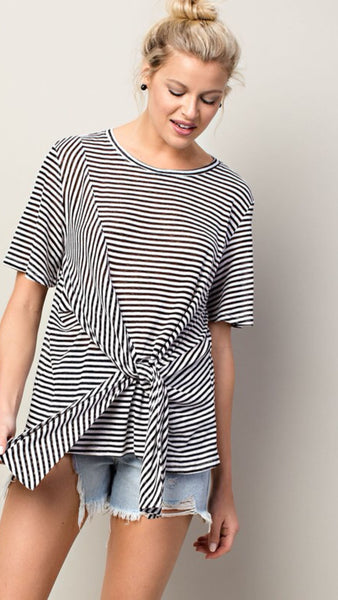 SWEETLY STRIPED Tie Over Tee