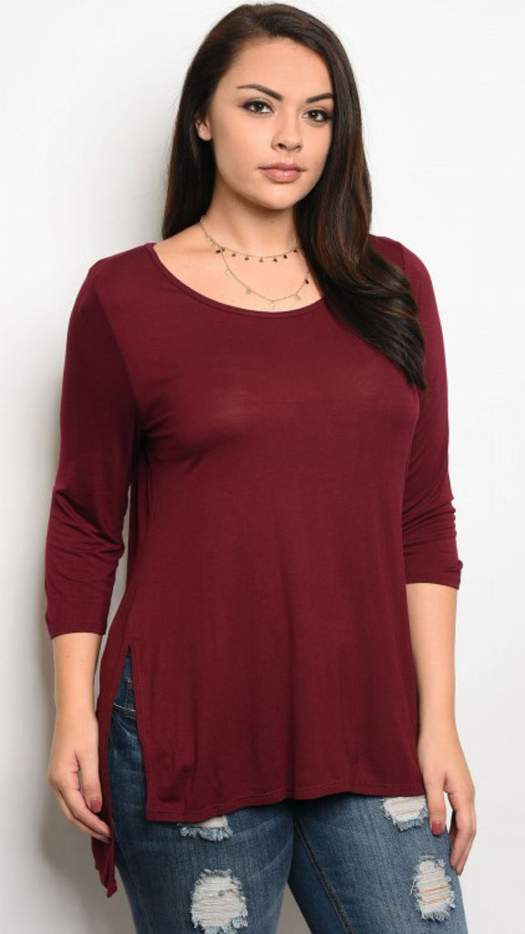 The ALEX Plus Size Burgundy Jersey Tunic
