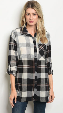 The BRITT Plaid Boyfriend Tunic Button Down Top