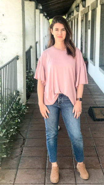 The SABLE Ash Rose Flutter Sleeve Top