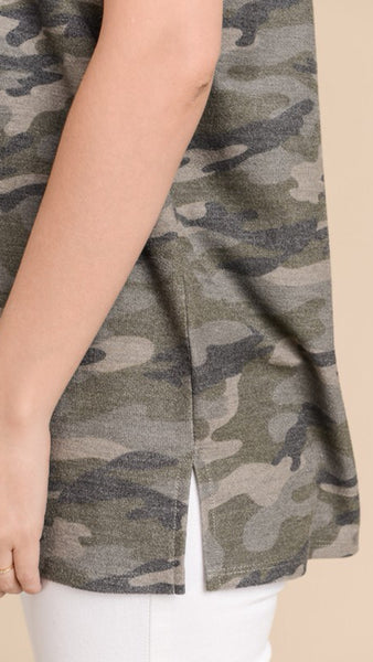 The PAMELA Camo Raglan Top