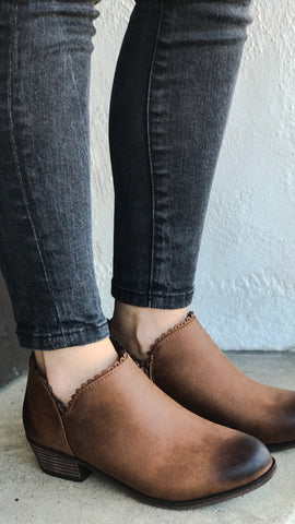 The RYDER Scalloped Edge Ankle Booties