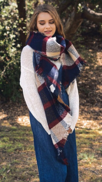 Navy Plaid Chunky Knit Scarf