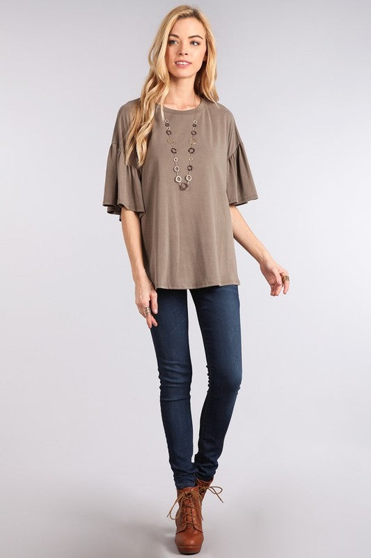 The SABLE Olive Flutter Sleeve Top
