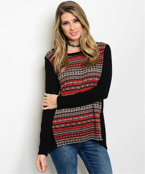 New!! Black/Rust Tribal Print Tunic