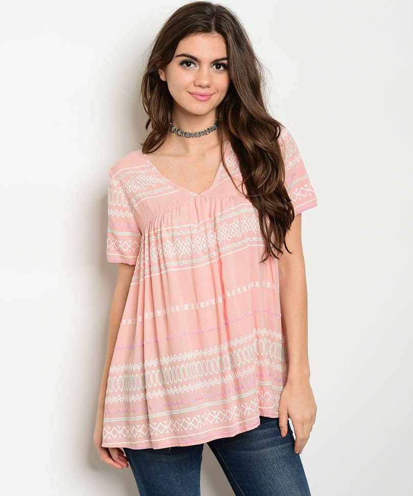 Alison Peach Tunic Top