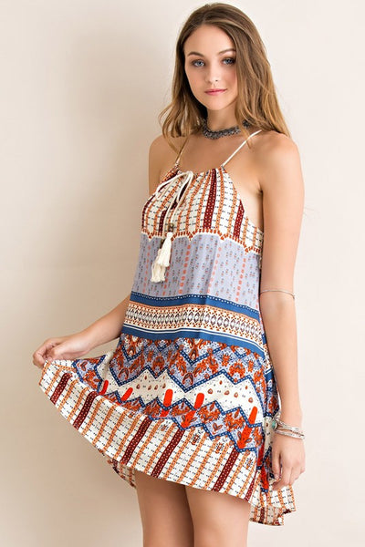 Jacquelyn Mixed Print Trapeze Dress