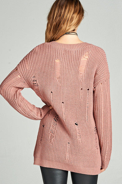 Kendra Distressed Mauve V-Neck Tunic Sweater