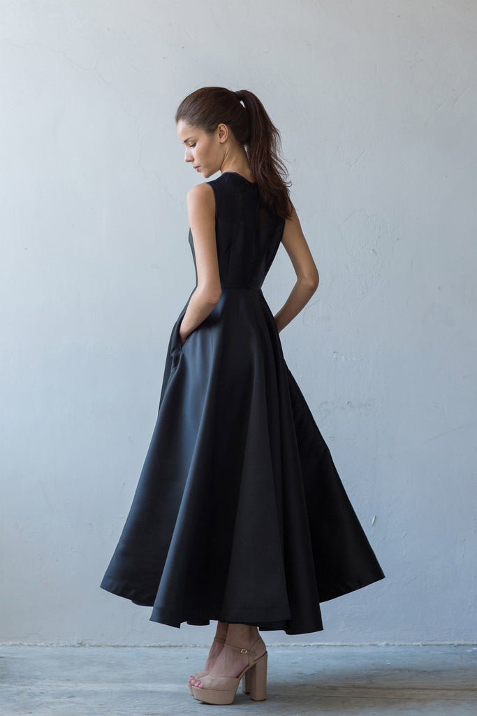 Fit and flare A-line gown in black