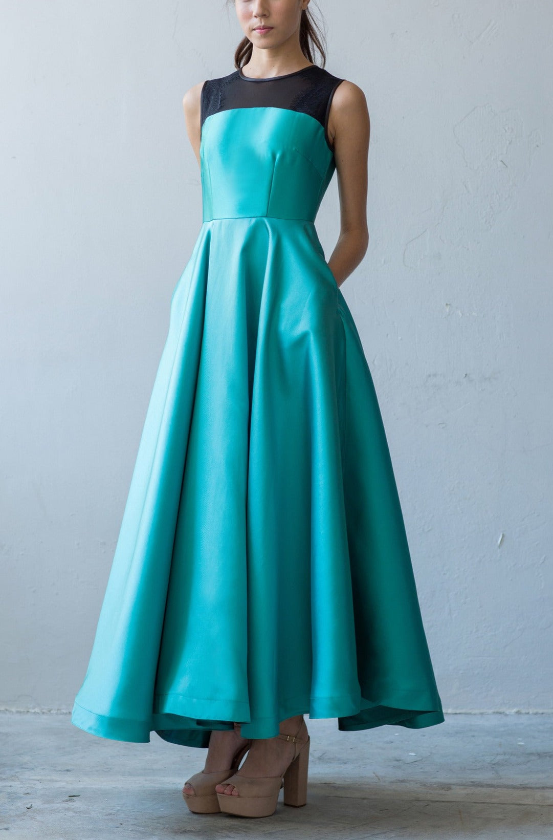 Fit and flare A-line gown in aqua