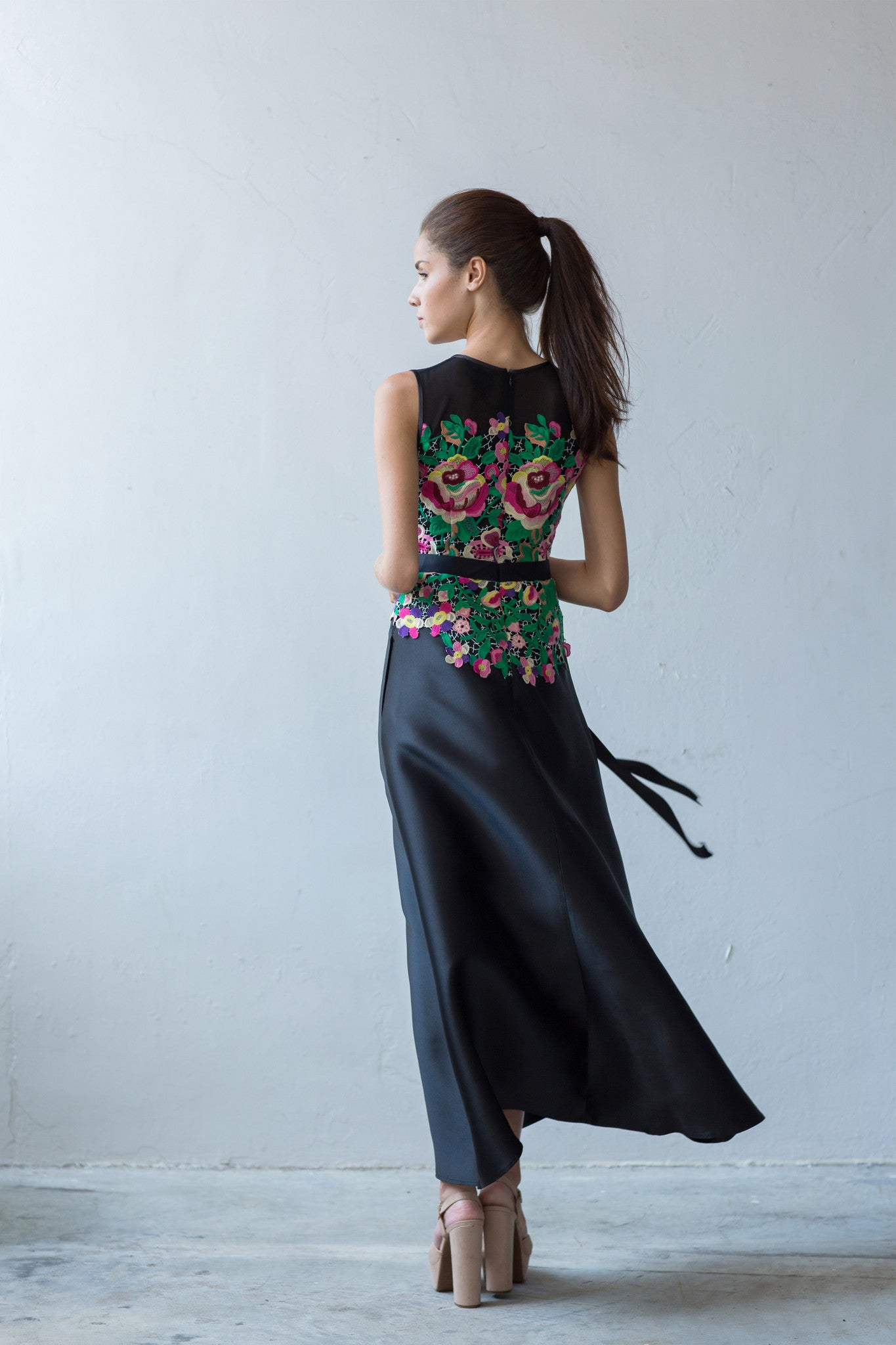Floral guipure long dress