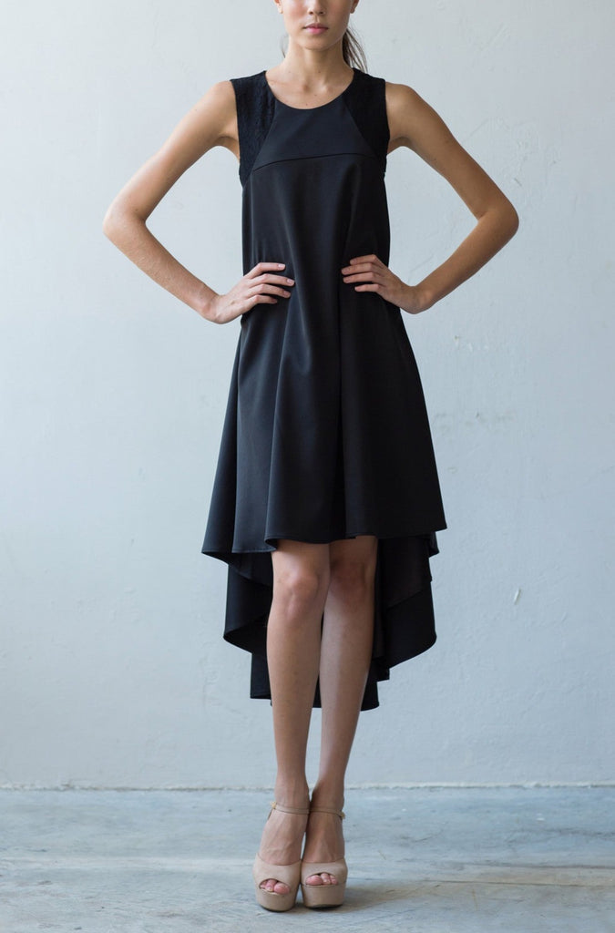 Open back flare dress with asymmetrical hem in black