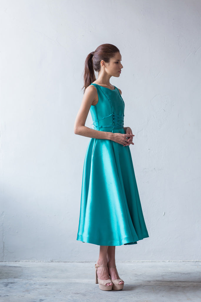 Lace-up midi flounce dress in aqua