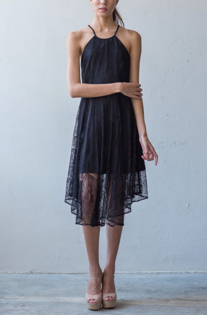 Low back full lace dress in black