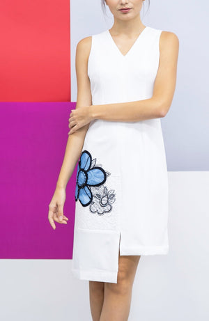 Sleeveless straight cut crepe dress- white with blue appliqué