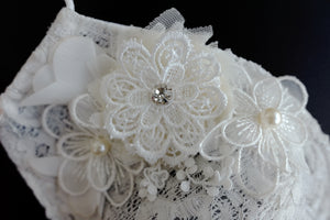 White lace mask with floral appliqués (One piece only)