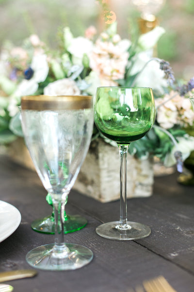 Green Champagne Coupe Glasses, Set Of 4