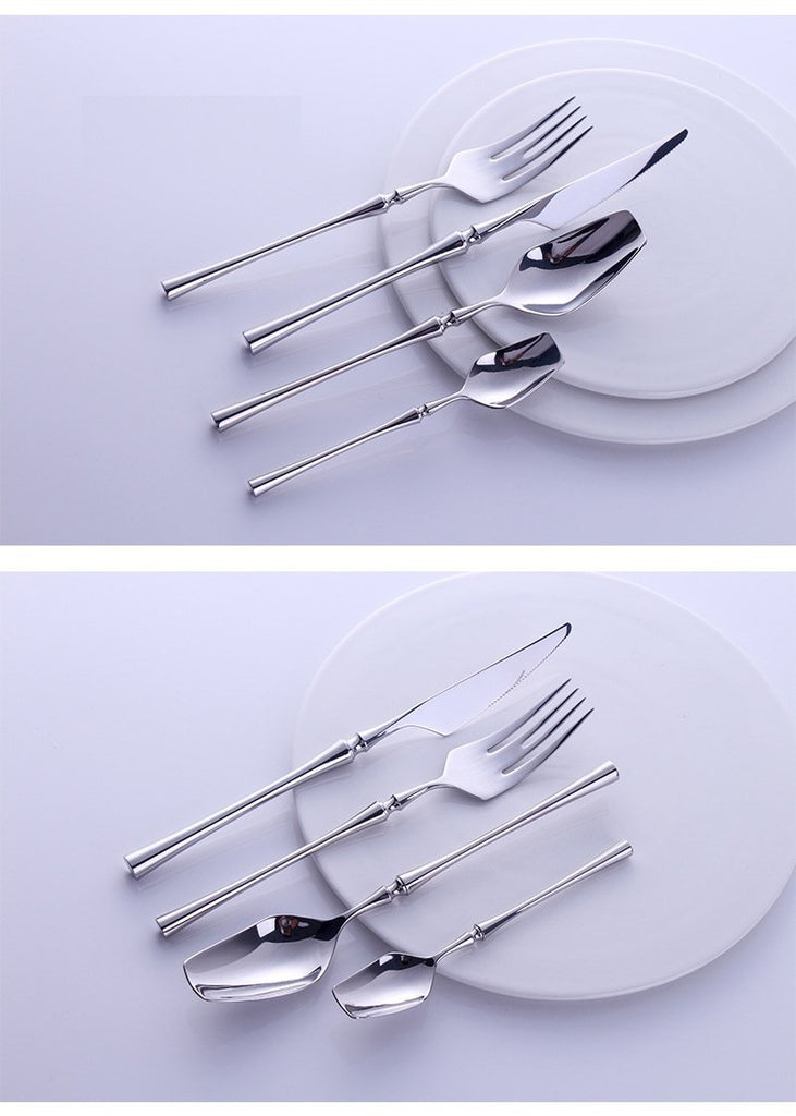 24 Pcs Spindle Silver Mirror Flatware Set