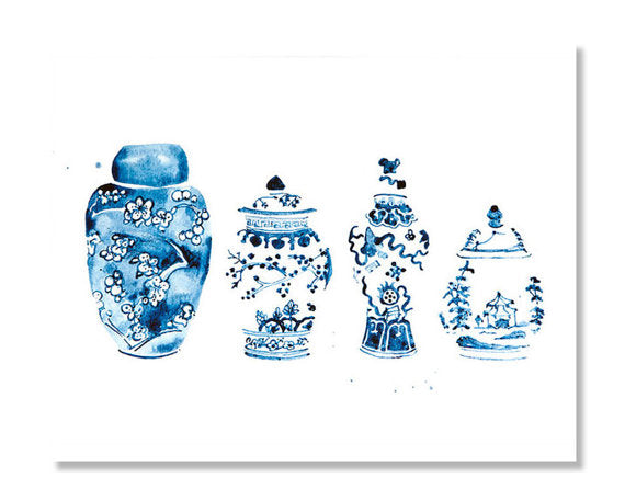 Ginger Jars Watercolor Giclee Print of an Original Watercolor