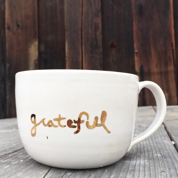 Grateful large cappuccino mug