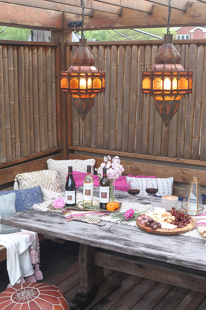 Moroccan lanterns for backyard dinner