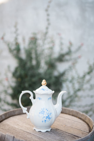white and blue teapot