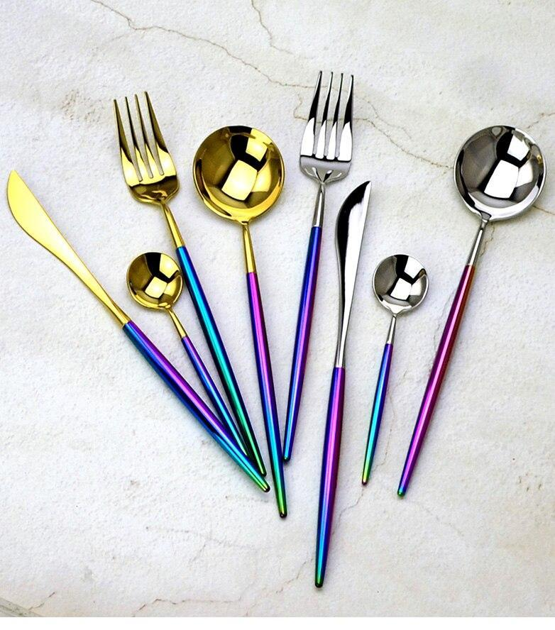 rainbow-handle-stainless-steel-flatware-24-pcs-set