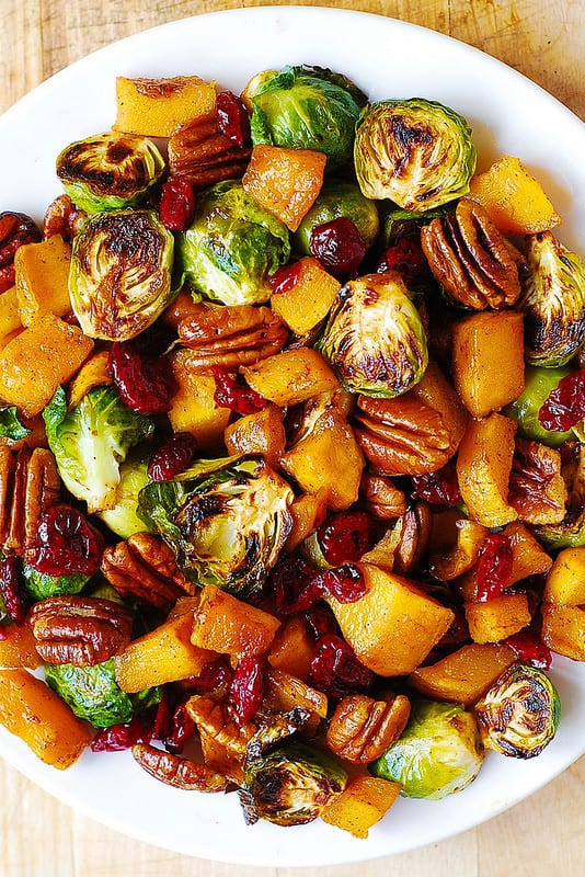 roasted-brussels-sprouts-cinnamon-butternut-squash-pecans-and-cranberries/