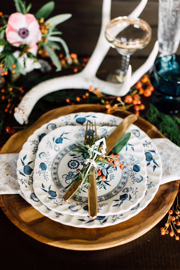 White and Blue holiday dinner place setting