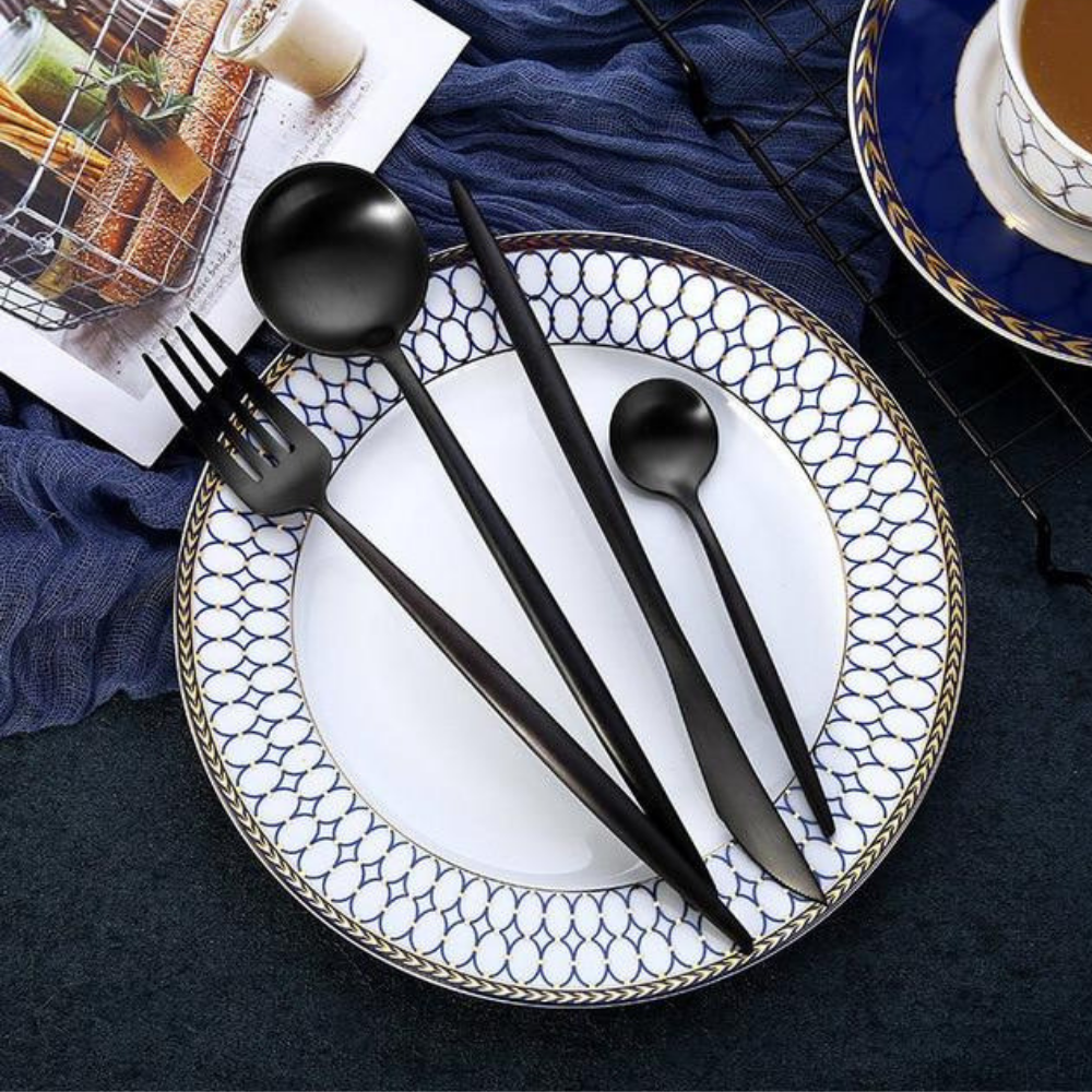 matte black finish-stainless-steel-flatware-24-pcs-set-1