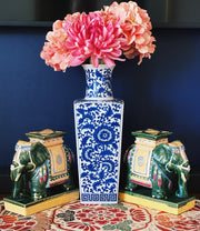"14"" Blue & White Japanese Floral Vase"