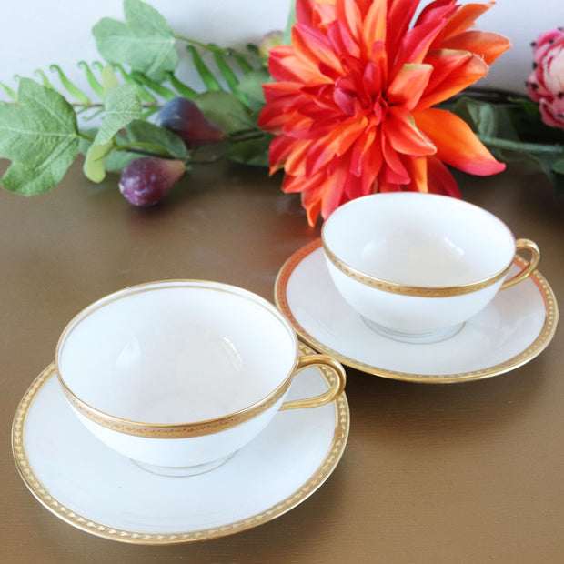 1910s Elite Works Limoges Sugar and Creamer Set with Cups & Saucers