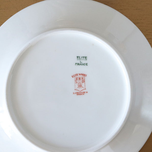 1910s Elite Works Salad Plates by Bawo and Dotter Limoges with Gold Band