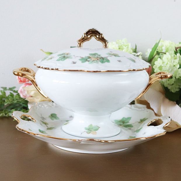 Vintage Bavarian Covered Tureen With Lid & Underplate