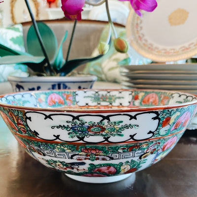 "8"" Famille Rose Medallion Bowl, Hand Painted Chinoiserie Porcelain"