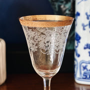 Antique Gold Etched Wine Glasses With Gold Rims
