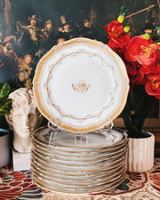 1860s Antique French Porcelain Charger Plates Set