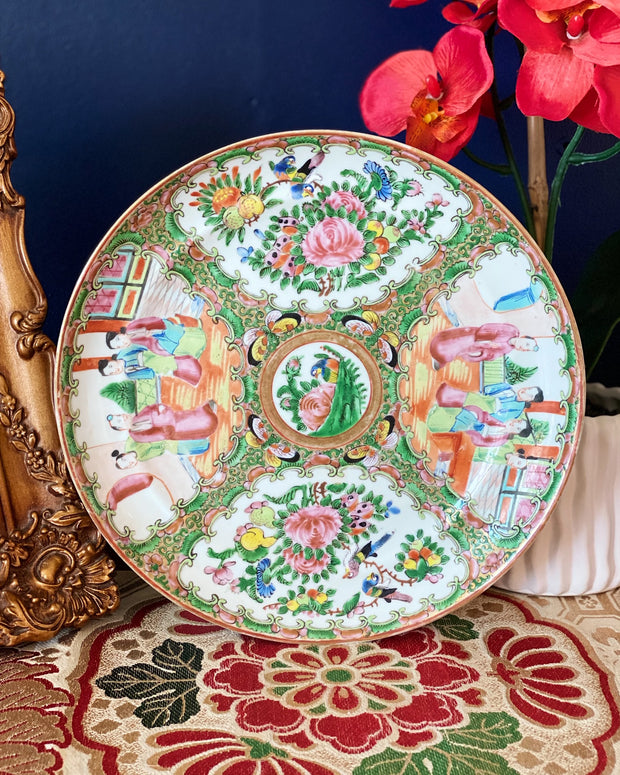 Antique Chinese Rose Medallion Raised Rimmed Plates
