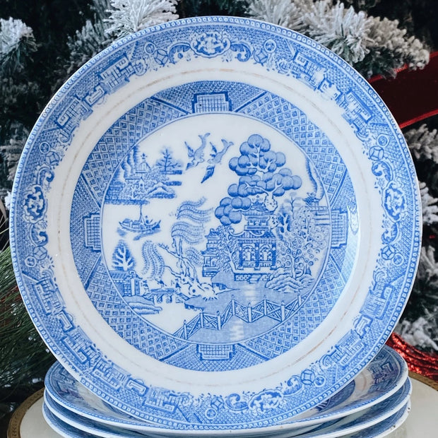 Antique English Blue Transferware Bread & Butter Plates