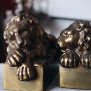 1940s Pair of Sleeping Lions Figurine Bronze Bookends
