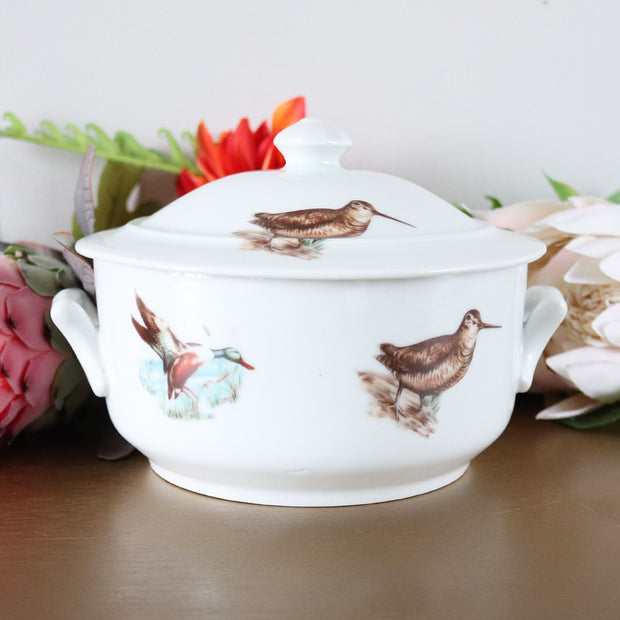 Apilco Game Birds Casserole with Lid; French Provençal Serveware