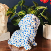 Herend style Blue Fishnet Ceramic Puppy Figurine