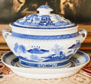 Blue White Chinoiserie Blue Canton Tureen With Lid and Stand