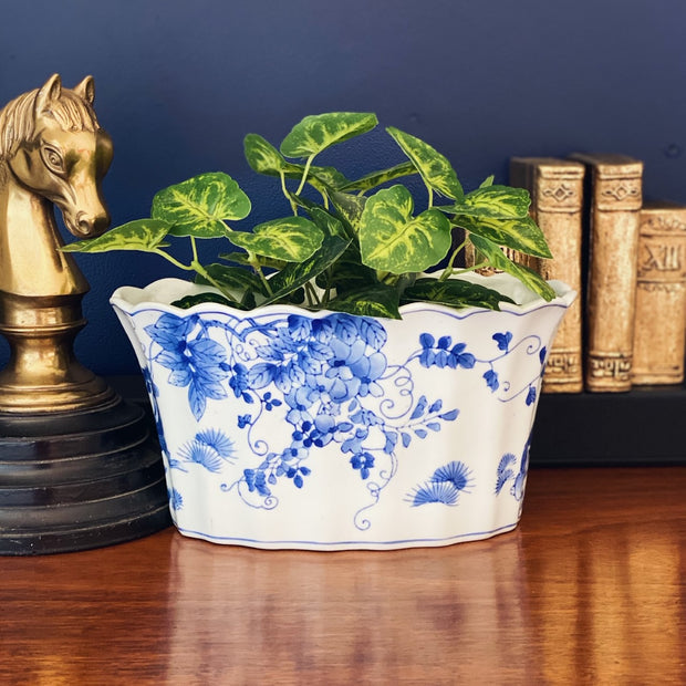 Blue & White Chinoiserie Scalloped Oval Jardiniere