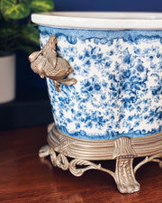 Blue & White Oval Footbath With Metal Ormolu
