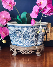 Blue & White Oval Footbath With Ormolu