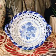 Blue & White Porcelain Lattice Chestnut Basket