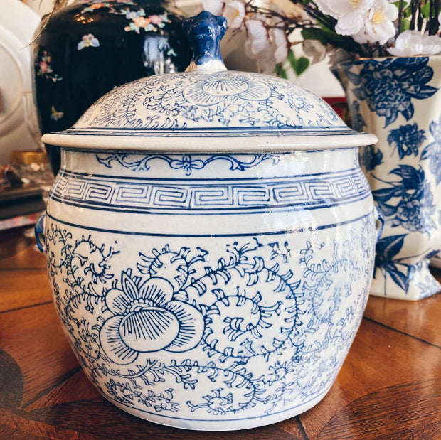 Blue and White Chinoiserie Rice Jar with Foo Dog Lid
